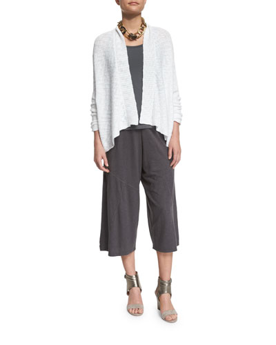 Nubble Links Shirt Cardigan, Stretch Jersey Slim Tank & Wide-Leg Hemp Twist Cropped Pants