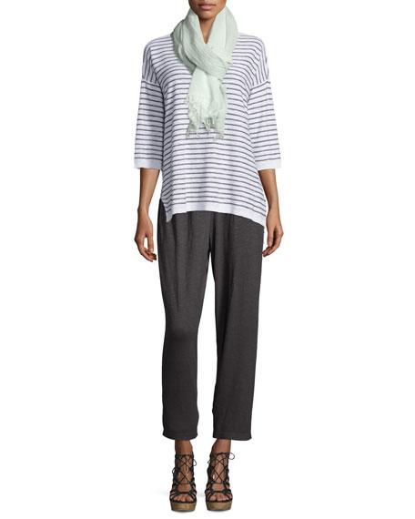 Eileen Fisher Slub Striped Linen/Cotton Tunic, White