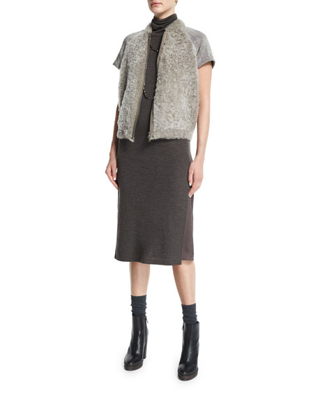 Brunello Cucinelli Monili-Embellished Cap-Sleeve Fur Jacket, Graphite