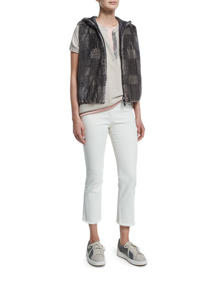 Brunello Cucinelli Reversible Glen-Check Fur Vest, Bark