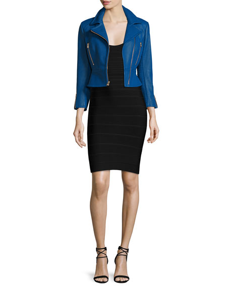 Herve Leger Zip-Front Leather Biker Jacket, Blue Sapphire