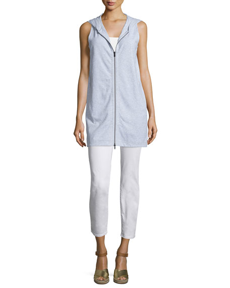Eileen Fisher Zip-Front Hooded Jersey Vest, Dark Pearl