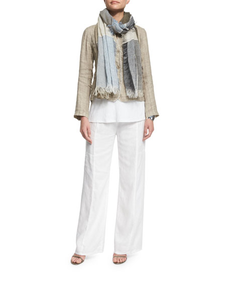 Eileen Fisher Linen Button-Front Jacket with Raw Edges,