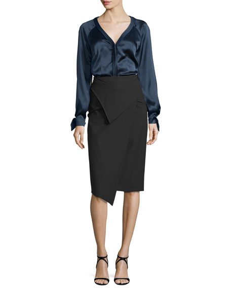 Zac Posen Long-Sleeve Charmeuse Blouse, Midnight
