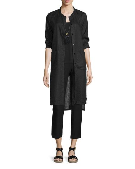 Eileen Fisher Long Organic Linen Jacket, Black, Petite