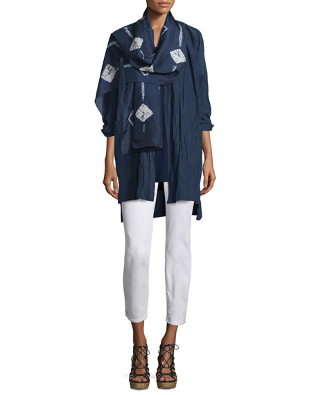 Eileen Fisher Rumpled Kimono Coat, Midnight, Plus Size