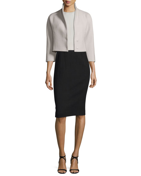 Narciso Rodriguez 3/4-Sleeve Cropped Jacket, Silver