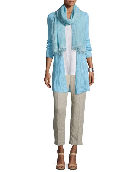 Eileen Fisher Organic Long Slim Ribbed Cardigan, Plus