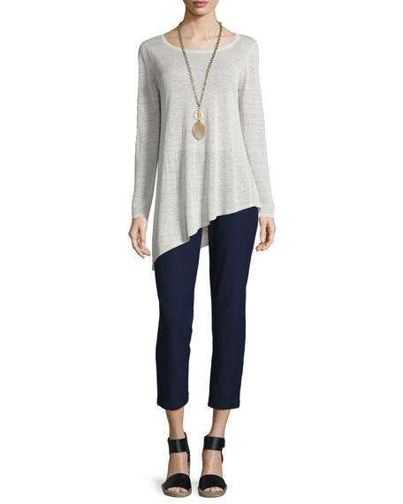 Eileen Fisher Asymmetric Linen Crepe Tunic, Petite