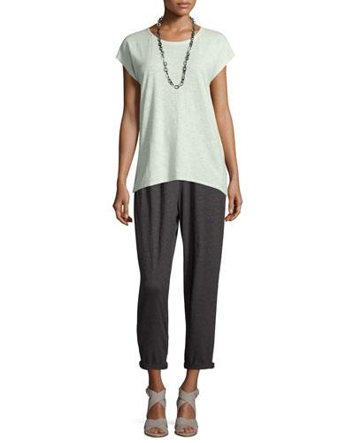 Cap-Sleeve Hemp Twist Top & Hemp Twist Ankle Pants, Women's