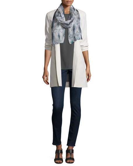 Eileen Fisher Structured Silk Notched-Collar Long Jacket, Plus