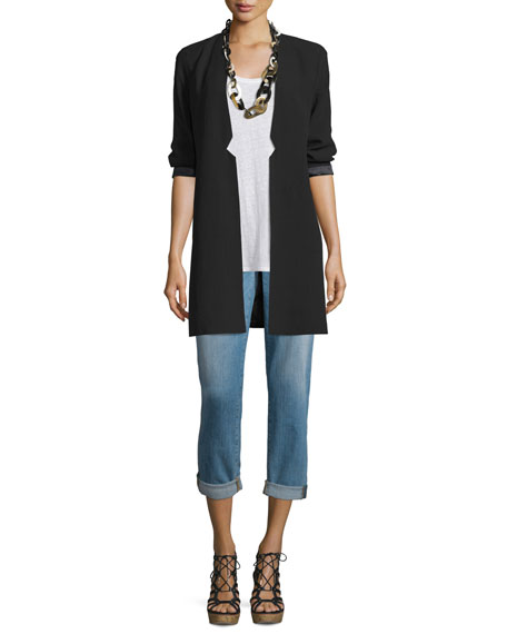 Eileen Fisher Structured Silk Notched-Collar Long Jacket, Black,