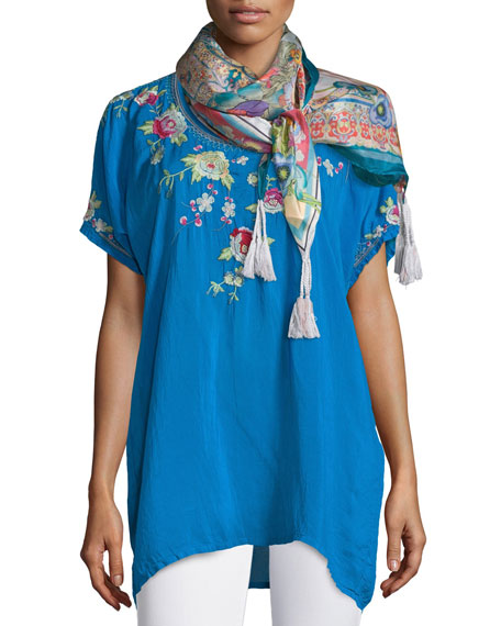 Johnny Was Collection Blooming Bouquet Short-Sleeve Embroidered