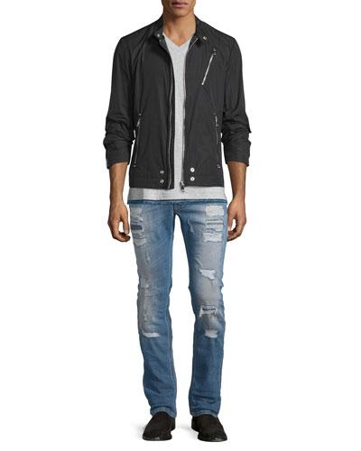 J-Cri Nylon Zipper Moto Jacket, Bascila Short-Sleeve Denim-Trim T-Shirt & Thavar Destroyed Slim Jeans