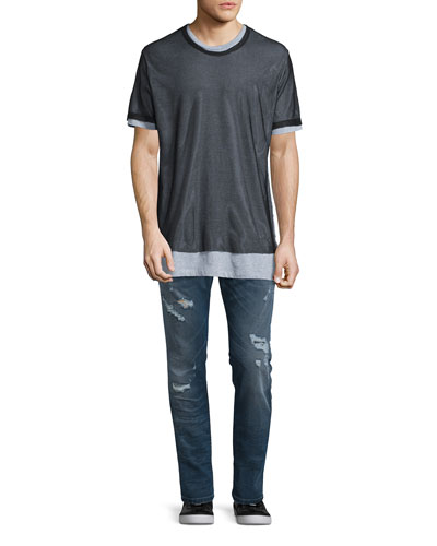 Seaweed Short-Sleeve Tee W/Mesh Overlay & Krooley 0675 Distressed Jogger Jeans