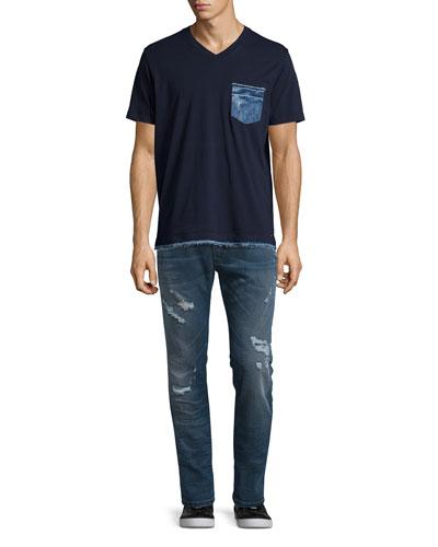 T-Basilica Denim-Trim Tee & Krooley 0675 Distressed Jogger Jeans