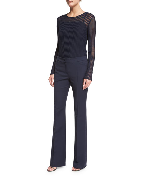 Escada Long-Sleeve Needle-Drop Pullover Top W/Cami, Midnight
