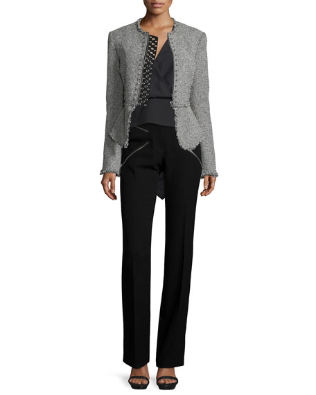 Alexander WangLong-Sleeve Stud-Trim Tweed Jacket, Black/White