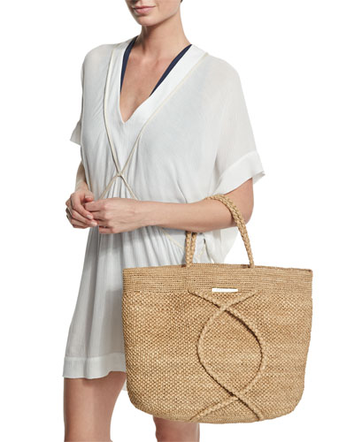 Michele V-Neck Tunic Coverup & X Straw Beach Bag