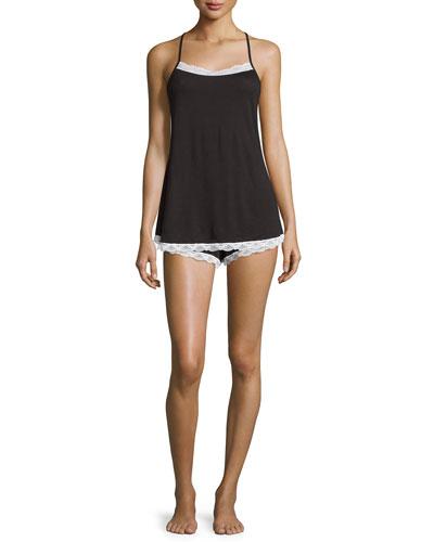 Majestic Lace-Trim Camisole & Boxer Shorts, Black/White