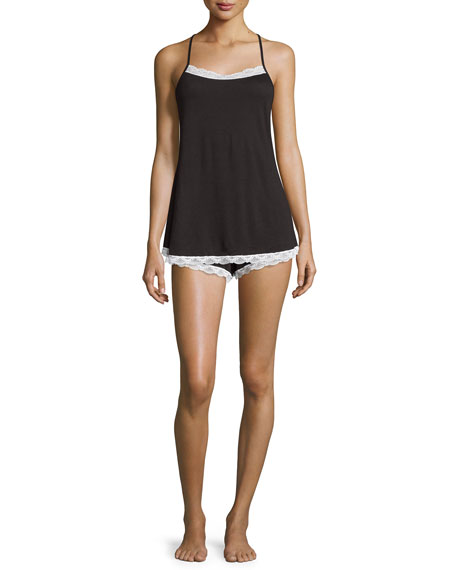 Majestic Lace-Trim Camisole, Black/White