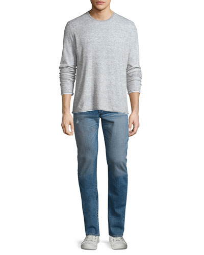 Tripp Melange Long-Sleeve Crewneck Shirt & Slight-Distressed Medium Washed Slim Denim Jeans