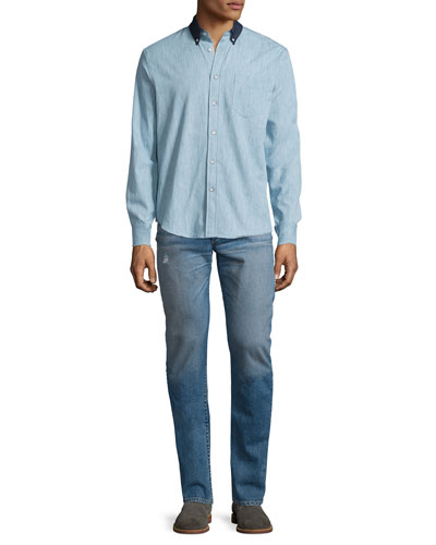 Yokohama Long-Sleeve Chambray Shirt & Slight-Distressed Medium Washed Slim Denim Jeans