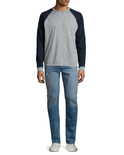 Colorblock Raglan-Sleeve Baseball Shirt & Slight-Distressed Medium Washed Slim Denim Jeans