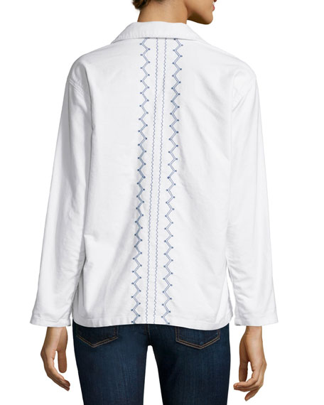 The Embroidered Army Shirt Jacket, White