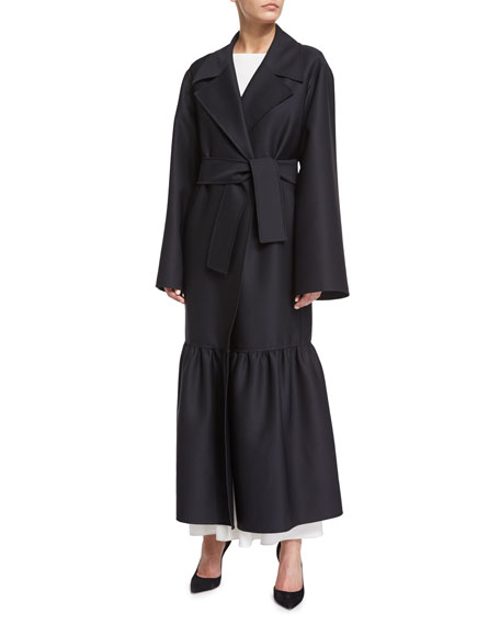 THE ROW Alexander Flounce-Hem Maxi Trench Coat, Black