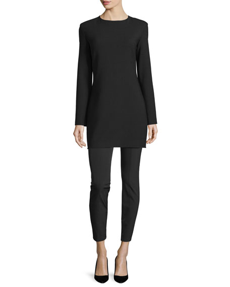 THE ROW Noma Long-Sleeve Mini Dress, Black