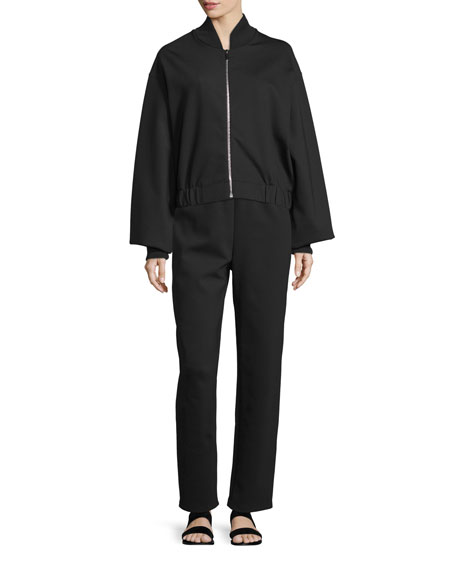 THE ROW Scotia Zip-Front Bomber Jacket, Black