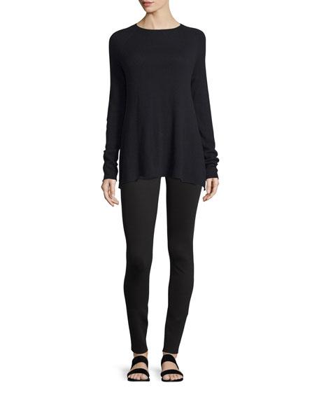 THE ROW Banny Long-Sleeve A-Line Sweater, Black