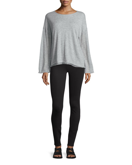 THE ROW Zadie Dropped-Shoulder Cashmere Top, Pebble Gray
