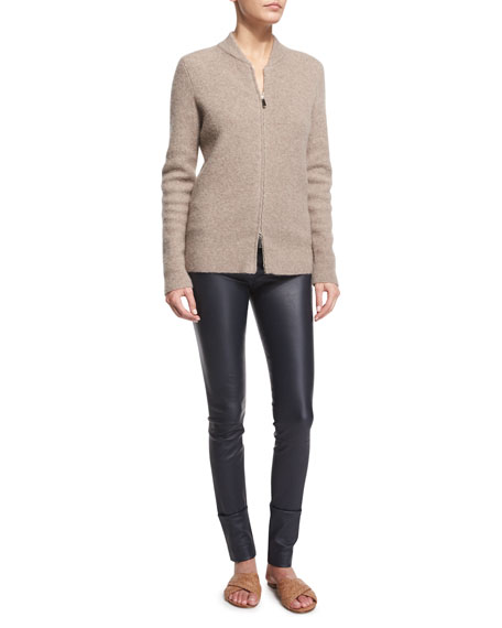 THE ROW Thera Zip-Front Bomber Sweater, Dark Taupe
