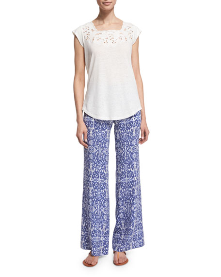 JoieSaqui Embroidered-Lace Top