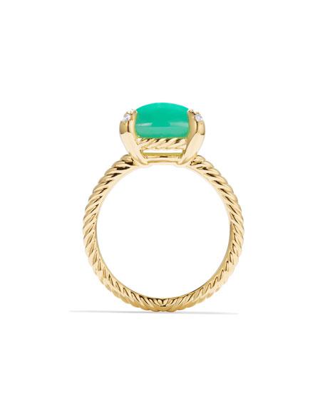 Châtelaine 18k Gold 11mm Chrysoprase Ring w/ Diamonds, Size 6