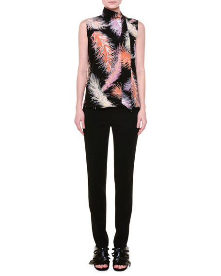 Emilio Pucci Sleeveless Feather-Print Blouse, Black/Orange