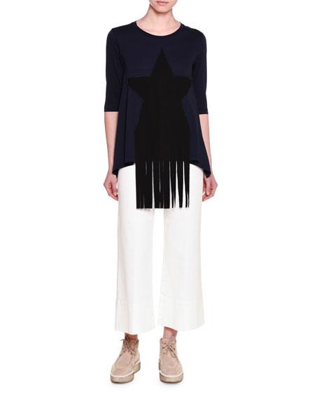 Stella McCartney Half-Sleeve Star-Patch T-Shirt W/Fringe, Ink