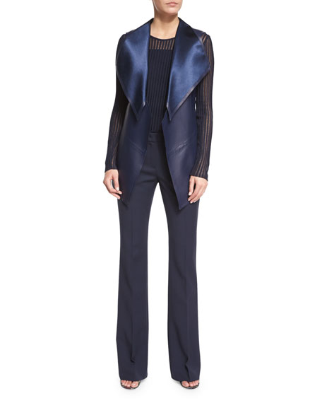 Escada Open-Front Leather Gilet, Midnight Blue