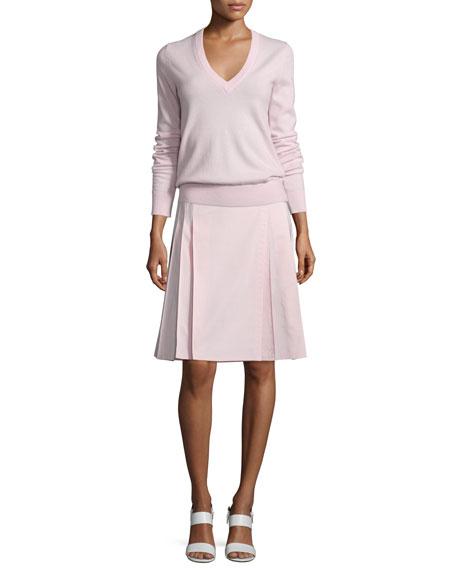 Michael Kors Collection V-Neck Slash-Back Cashmere Sweater, Blush