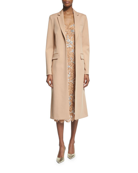 Michael Kors Collection Long Open-Front Wool Coat, Suntan