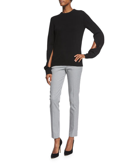 Michael Kors Collection Slit-Sleeve Crewneck Cashmere Sweater,