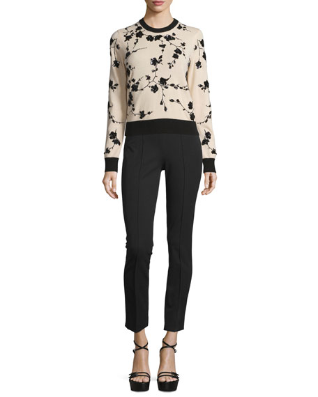Michael Kors Collection Long-Sleeve Embellished Cashmere Sweater,