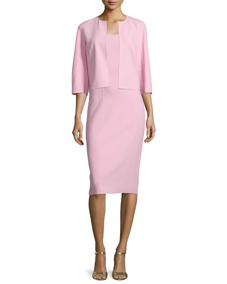 Michael Kors Collection 3/4-Sleeve Open-Front Jacket, Ballerina