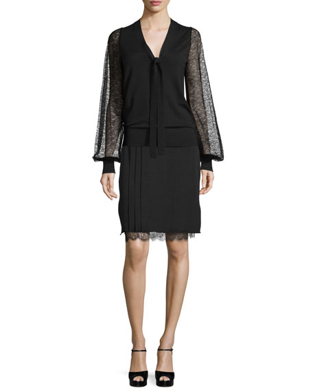 Michael Kors Collection Lace-Sleeve Tie-Neck Sweater, Black