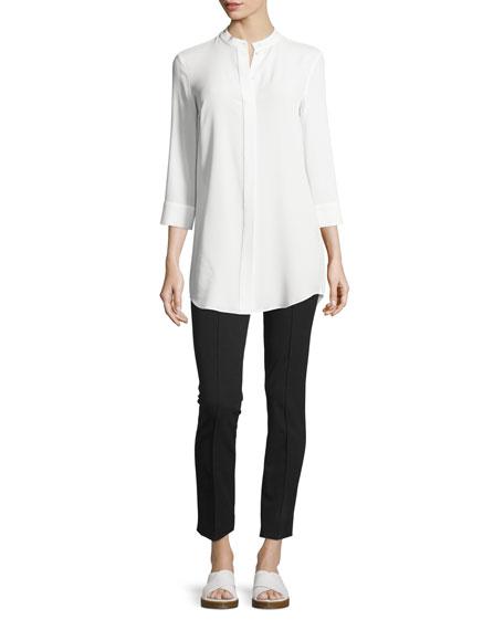 Michael Kors Collection Banded-Collar Long Shirt, Optic White