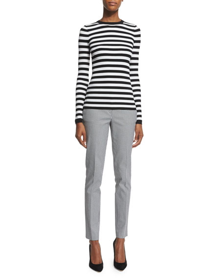 Michael Kors Collection Long-Sleeve Striped Top, White
