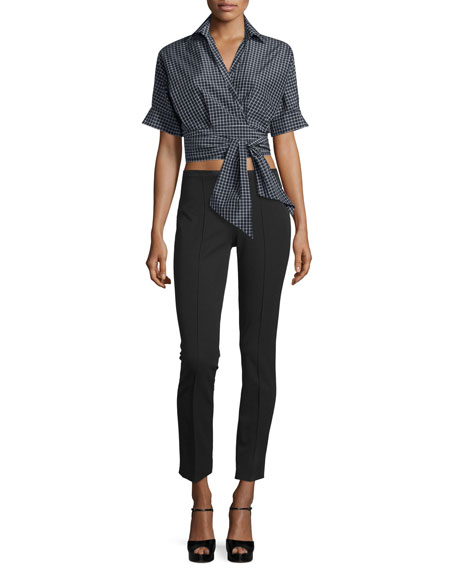 Michael Kors Collection Short-Sleeve Windowpane Wrap Blouse,