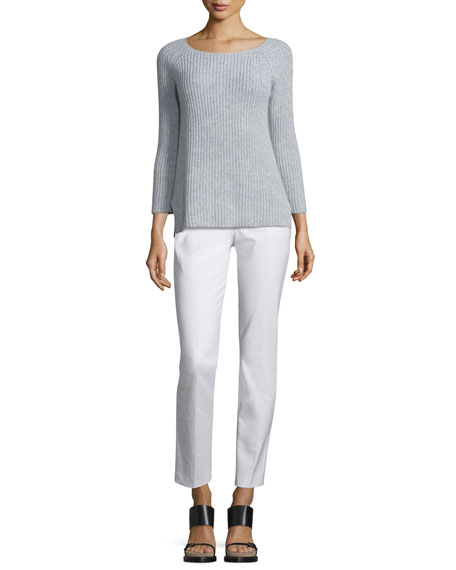 Michael Kors Collection Round-Neck Shaker Sweater, Pearl/Gray